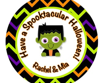 Halloween Stickers, Frankenstein Stickers, Personalized Goodie Bag Stickers, Halloween Cupcake Toppers, Halloween Party Favors (464)