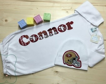 Personalized Baby Boy Gown and Hat Set, 49ers Baby, Personalized Baby Boy, Newborn Gown, Baby 49ers Outfit, Going Home Outfit, Baby Shower
