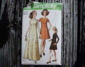 Simplicity 8498 1960s 60s Evening or Cocktail Dress Sewing Pattern Size 12 MP Bust 34