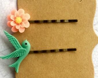 Bobby Pins, Hair Accessories, Flower Bobby Pins, Cameo Hair Pins