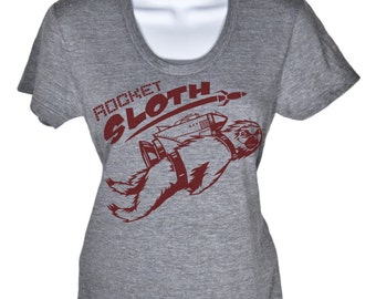 Womens Rocket Sloth T Shirt - American Apparel Tshirt - S M L XL (4 Color Options)