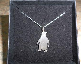 Penguin Pendant. Hand cut sterling silver penguin.