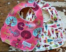 Baby Girl Bibs - Fairyville Enchanted Oaks & Gnomes - Set of 2 - Pink, Aqua and Lime