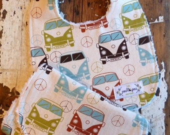 Bib & Burp Cloth Gift Set  - VW Bus - Gender Neutral - Volkswagon - Natural, Rust, Brown and Vintage Blue