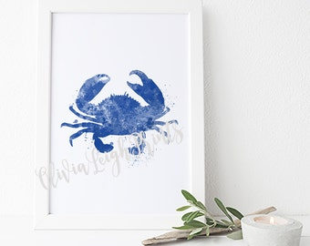 Watercolor Crab, Sea Life Art Print, Bathroom Wall Art, Sea Creature,Nautical poster. Instant Download.