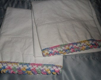 Vintage Pillow Cases Crochet Hand Embellished Muslin