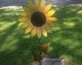 Sunflower on stake, Metal Garden Art, Painted Flower Stake, Metal Yard Art, Metal Flower Yard Stake,