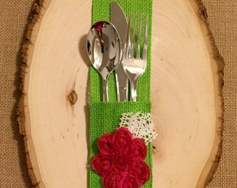 Lime Green Burlap Silverware Holder with hot pink fuchsia fabric flower - Set of 4