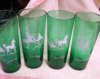 Vintage Green Tumblers Lot of 4 Anchor Hocking Forest Green Transportation 1940s