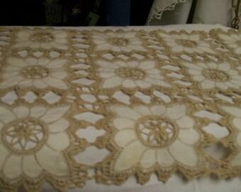 """Vintage Crocheted Runner Dresser Scarf Ecru Hand Stitched 25"""""""