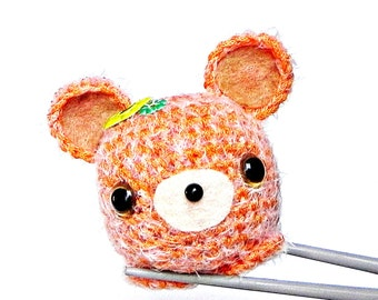 Amigurumi orange furry Bear MochiQtie - Crochet amigurumi animal toy mini doll