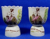 FALL SALE Vintage Pair Double Egg Cups Scalloped Top & Handpainted Country Barn Rooster Weathervane Tilso Japan Ceramic