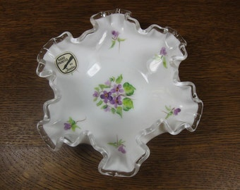 Fenton 'Violets in the Snow' Hand Painted Silver Crest Milk Glass Ruffled Candy Bowl with ORIGINAL STICKER