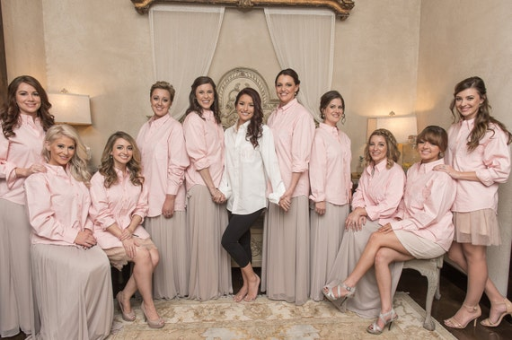 Boyfriend Bridal Party Mens Shirts ~ Monogrammed Oxford Shirt~ Light Pink Button Down Bridal Party Shirts ~