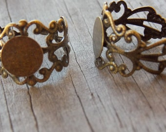 3 Bronze Filigree Ring Blanks 10mm Flat Pad Adjustable For Sizes 6 to 10