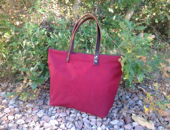 Merlot Red Zippered Waxed Canvas Tote with Leather Handles- Diaper Bag- Weekender