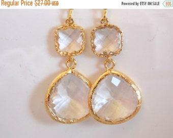 SALE Glass Earrings, Crystal Earrings, Bride Earrings, Clear Earrings, Transparent, White, Gold, Bridesmaid Earrings, Bridal, Bridesmaid Gif