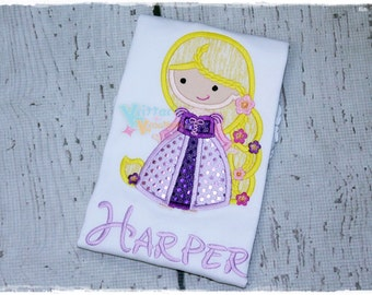 Disney Princess - Rapunzel - Tangled Inspired Embroidered Applique Shirt