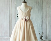 2016 Beige Junior Bridesmaid dress, V Neck Baby dress, A Line Girl Wedding dress, Spaghetti Strap Crinkle Maxi dress knee length (JK008)