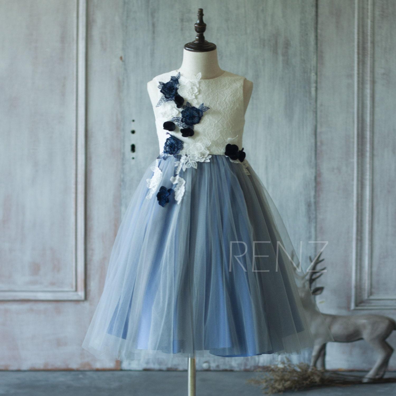 Junior Bridesmaid Dress Steel Blue Flower Girl DressWhite