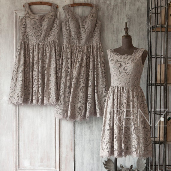2017 Grey Bridesmaid Dress Short Gray Lace Wedding Dress
