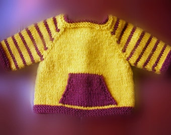 18 Inch Doll Clothes, Hand Knit Sweater in Maroon and Gold, School Colors, Pocket Sweater, Made to Fit American Girl or Other 18 Inch Dolls