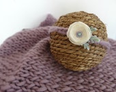 Purple Chunky Mini Blanket/ Headband Set Photo Prop, Lavender Baby Blanket Halo Set, MADE TO ORDER