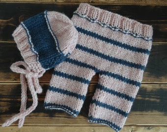 Newborn Baby Girl Bonnet and Pants Set Photo Prop, Stripe Pink/Denim Blue Pants and Bonnet Set READY TO SHIP