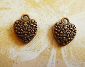 2 Antiqued Copper Hearts Charms Drops Two Sided Focal Jewelry