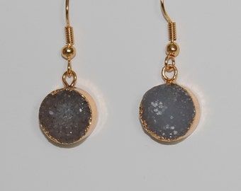Natural Agate Druzy Geode Golden Gold Plated Dangle Earrings Stone