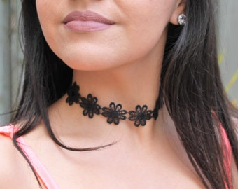 Lace Black Flower Choker Necklace Music Festival Handmade