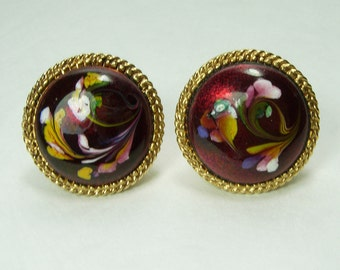 1960s Signed Florenza Earrings Venetian Murano Glass Cranberry Multi Colors