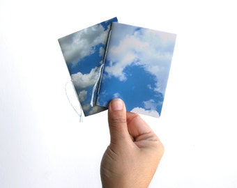 Clouds notebook set, pocket notebooks, mini notebooks, journal notebook, mini journal, small notebook, blank notebook, photograph cover