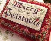 Victorian embroidered red Christmas pillow