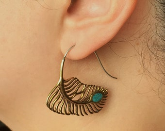 Metal Feather Earrings with Turquoise - BOHEME - Tribal Style Jewelry - Wire Hook Gauge Design