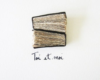 Modern Book Art - Toi et moi - handmade books, dark brown leather, urban chic, tea stained paper, love for all, romantic, 5x7, 13x18