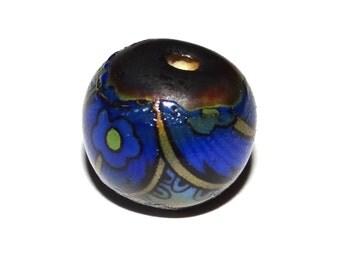 Unusual Ceramic Focal Bead Rustic Flower Paisley Blue Cobalt Stoneware Pottery Focal