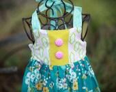 Floral Blue Dress with Halter Back
