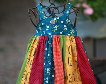 October Rainbow Reverse Knot Dress with Button Accents   Great for layering
