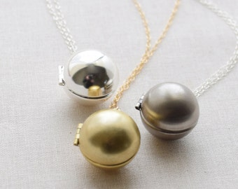 Ball Locket Necklace, Long Layering Necklace, Antique Silver Locket, Gold Ball Locket, Christmas Ball Necklace, Brass Ball, Olive Yew, -1358