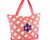 Personalized Geometric Quatrefoil Coral and White Tote Bag -Great Dance, Overnight bag, or Beach bag  Includes Monogram
