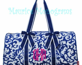 Personalized Quilted Large Damask Floral Duffel Bag, Gym Dance, or Overnight Bag Royal Blue and White - Monogram FREE