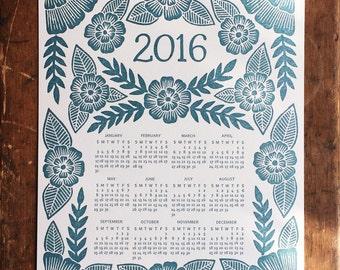 Katharine Watson 2016 Letterpress Calendar - Flat Letterpress Wall Calendar in Teal