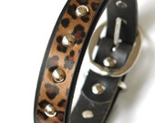 "Cheetah Print overlay Leather Dog Collar with Silver Rivets. Custom sizes Medium to Large 16"" inches to 22"" inches, Dog Collar leather"
