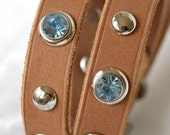 Custom Leather Dog Collar , Suede Tan Western , with Studs and Sky Blue Rivets size Small thru Large