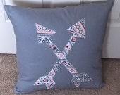 "Appliqued Arrows Tribal 18"" Throw Pillow Cover"