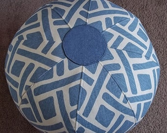 Contemporary Lattice Design Floor Pouf in Denim Blue