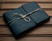 Leather Journal or Leather Sketchbook, Medium Sized, Arctic Blue Leather Handbound Photo Album