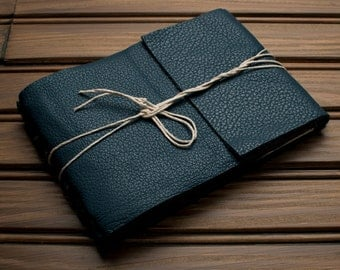 Leather Journal or Leather Sketchbook, Medium Sized, Arctic Blue Leather Handbound Photo Album