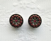 """Dark Red and Brass Flower Ornate Beaded Design Button Vintage Style Pair Plugs Gauges Size: 9/16"""" (14mm)"""